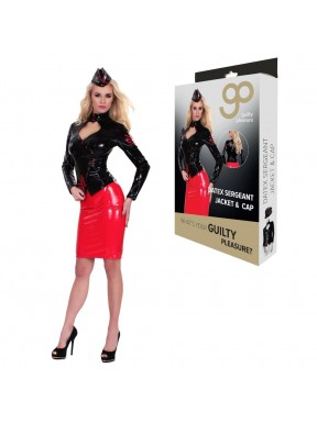 Disfraz Chaqueta y Gorra de Sargento GP Datex negro-rojo