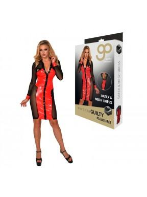 Vestido GP Datex con Malla rojo-negro