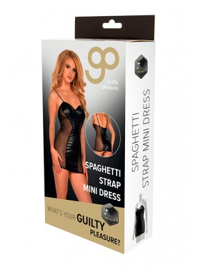 Mini Vestido Spaghetti Strap GP Wet Look negro